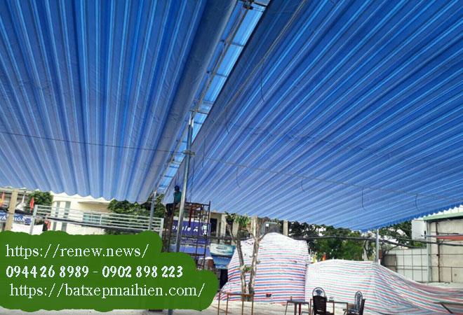 Làm bạt mái hiên di động quận 7 xếp cuốn kéo vòm che nắng